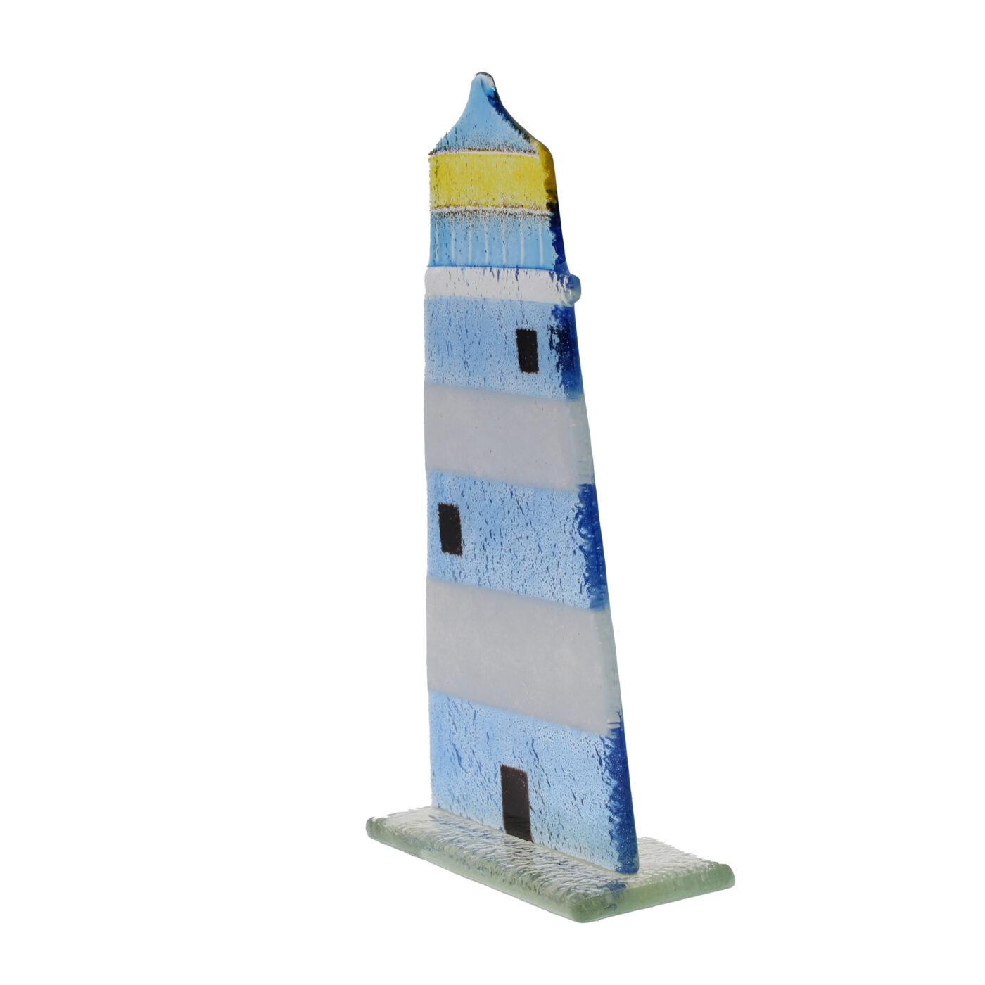 glass lighthouse blue white stripe
