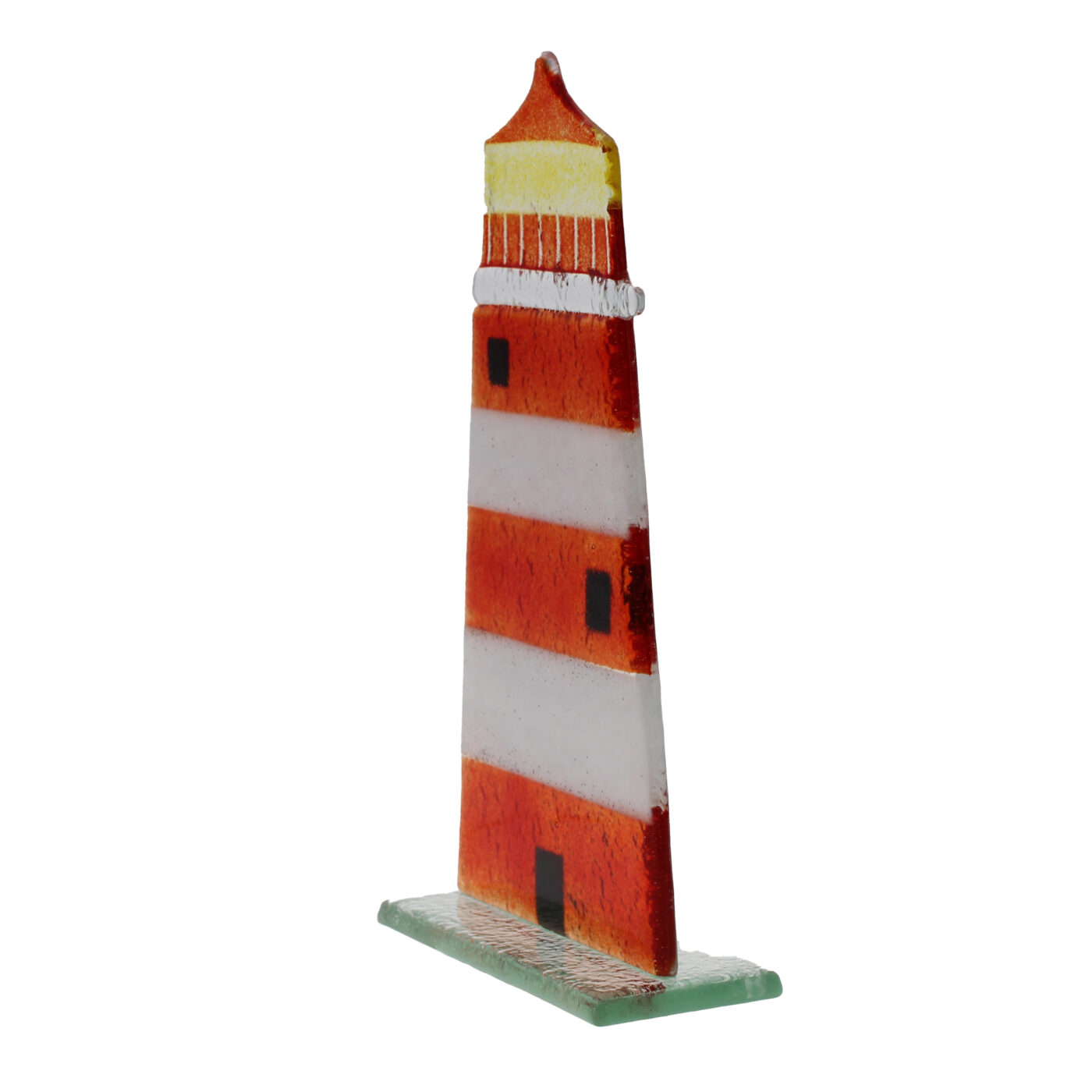 glass lighthouse red white stripe