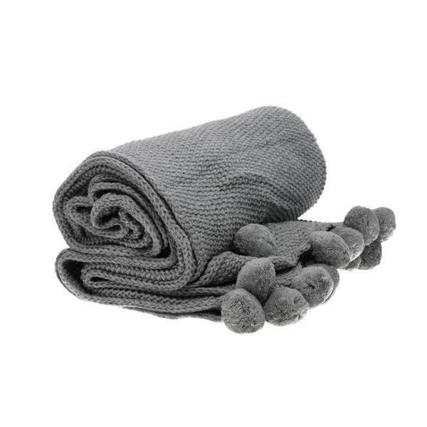 grey knitted pompom throw