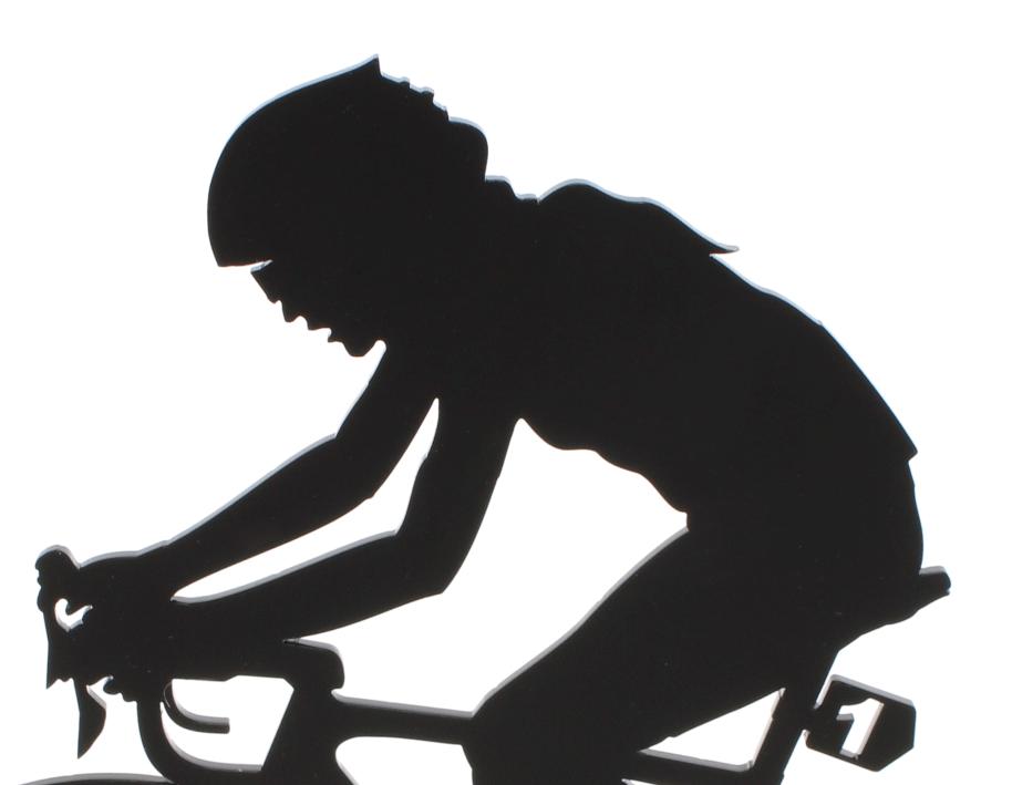 female acrylic cyclist ornament