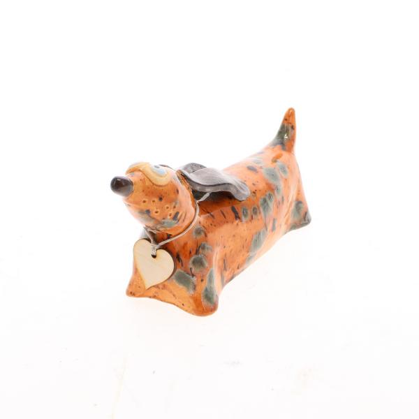 ceramic dachshund mustard