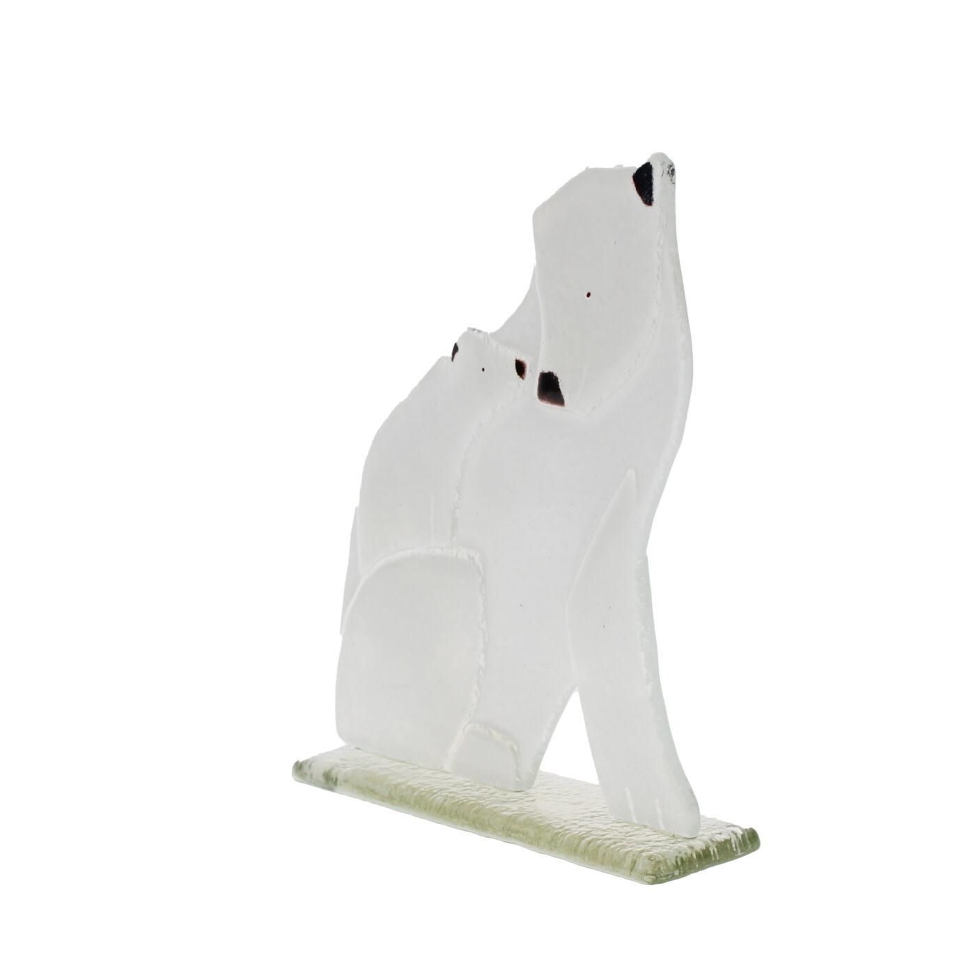 glass polar bear and cub