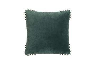 moss green pom pom cushion