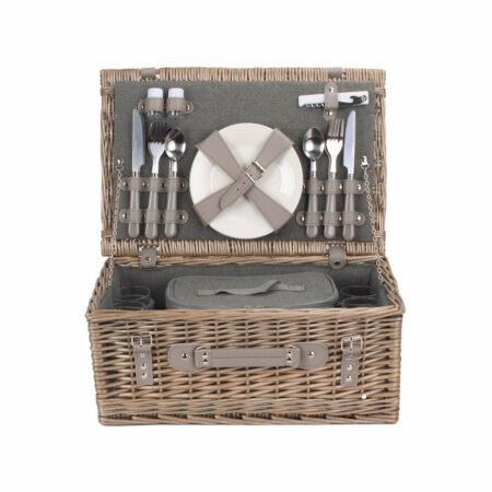 tweed picnic hamper for 4