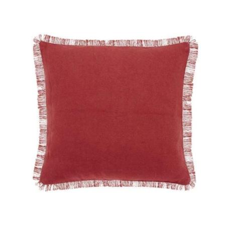 sherrie fringe red earth cushion