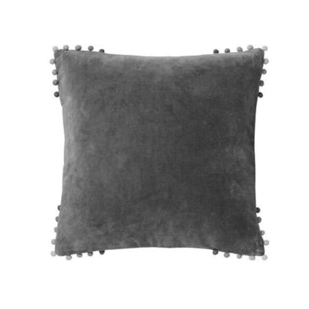charcoal velvet pom pom cushion
