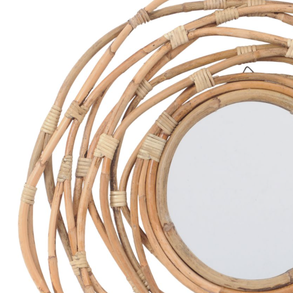 rattan round mirror with looped cane