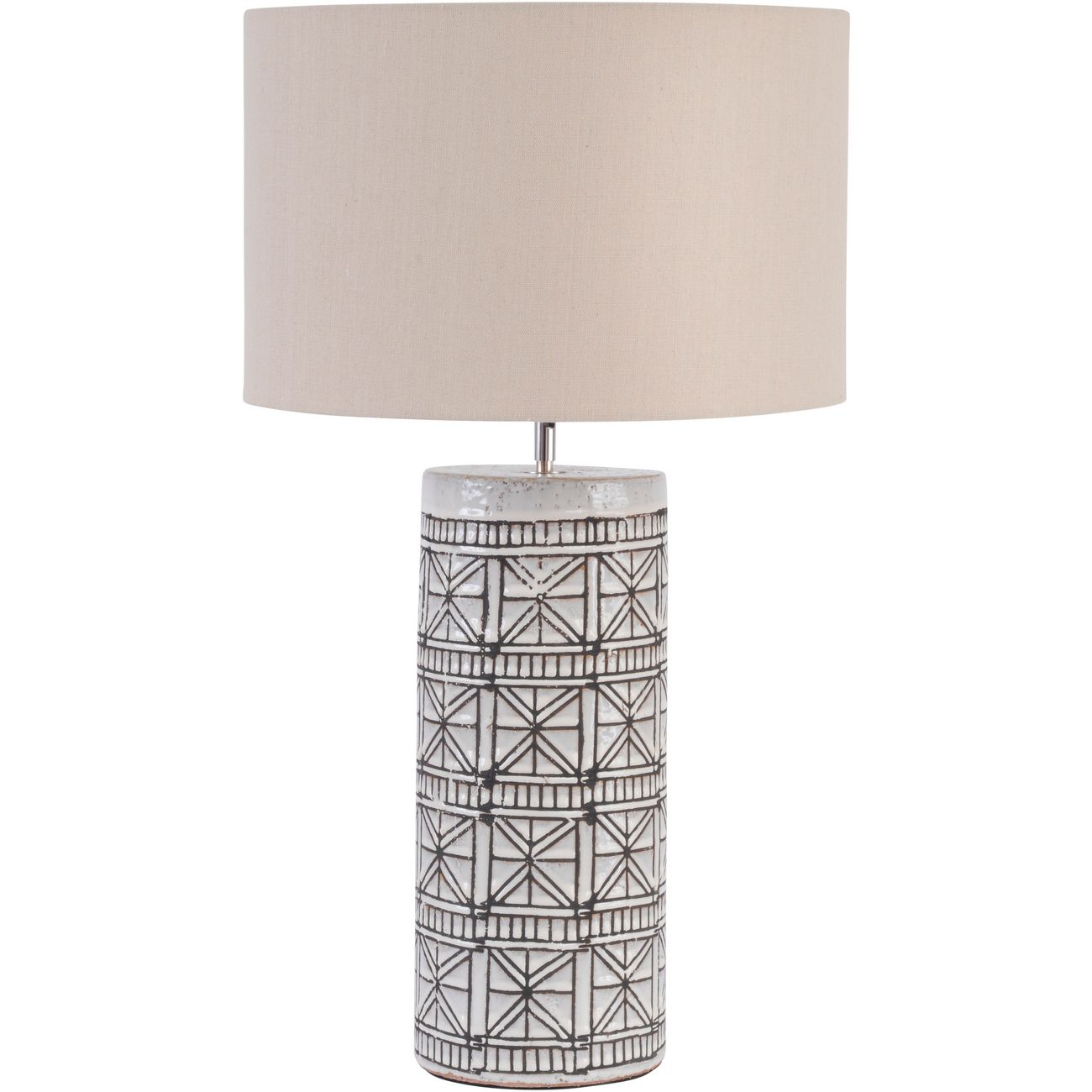 brown porcelain table lamp with natural shade