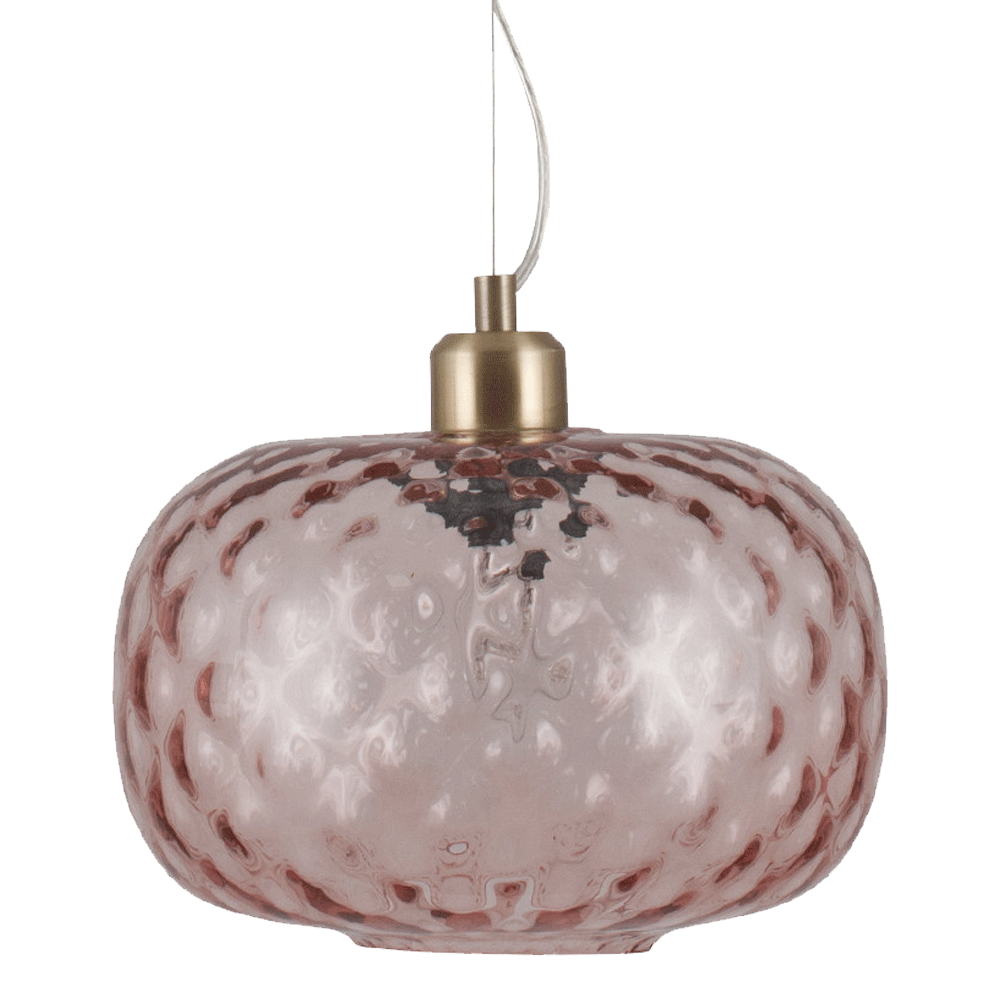 textured rose coloured glass pendant light