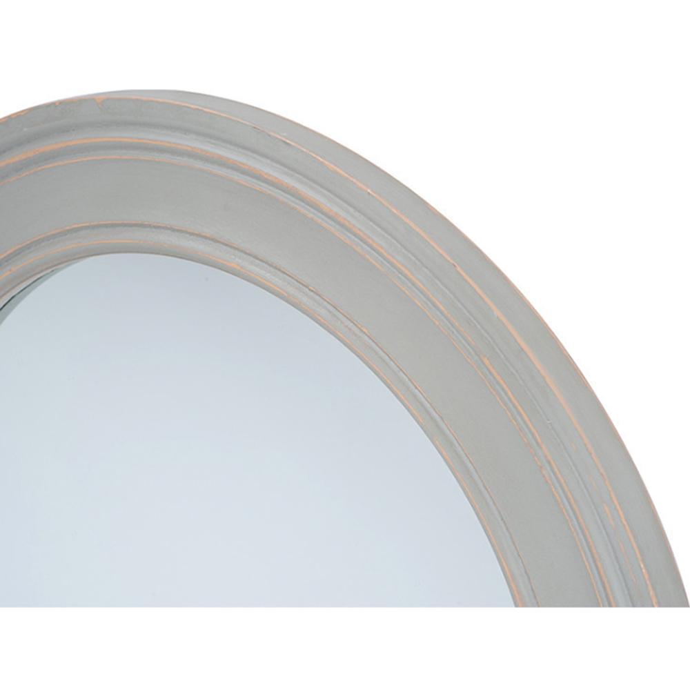 washed wood grey rustic mirror round