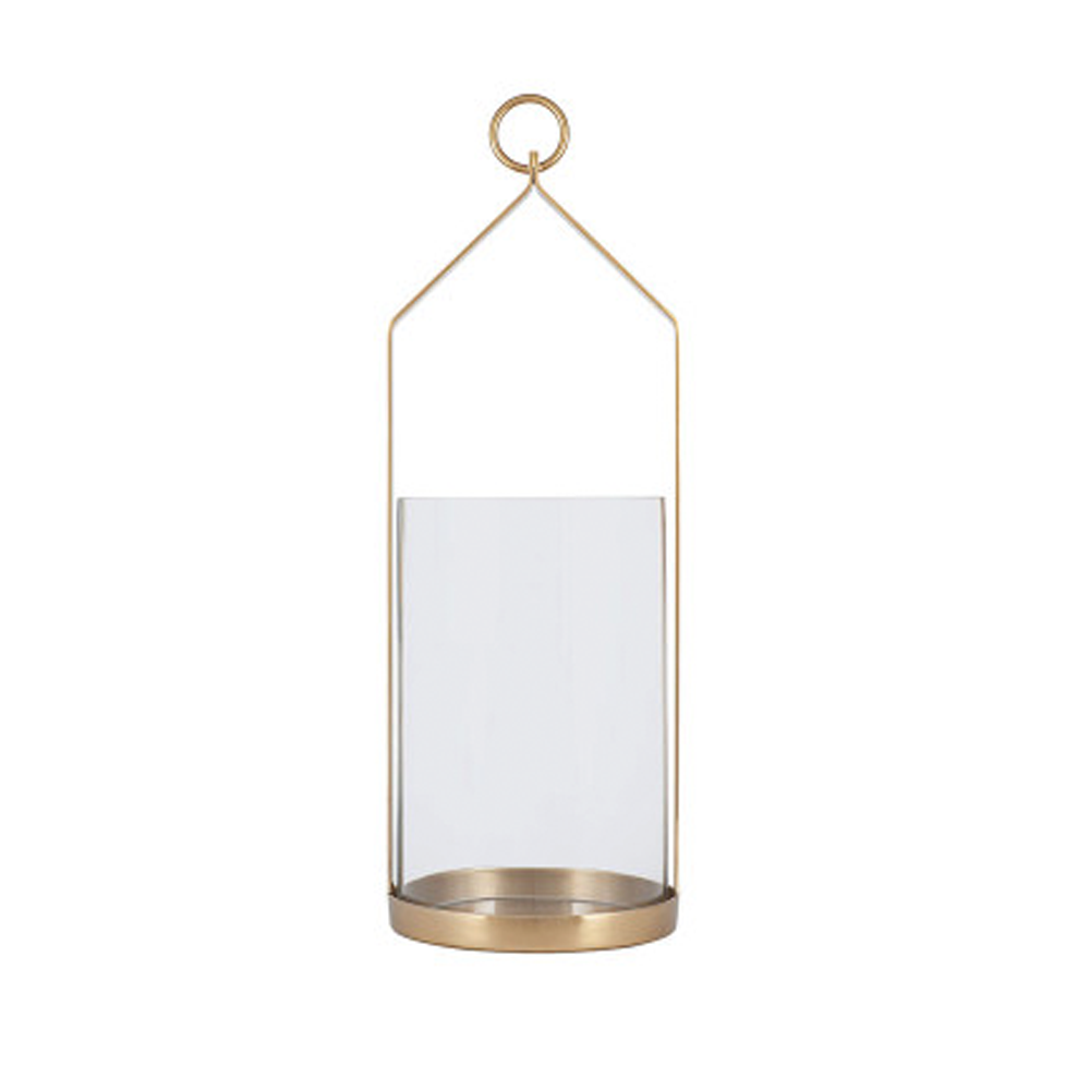 clear glass and brass hurricane lantern small