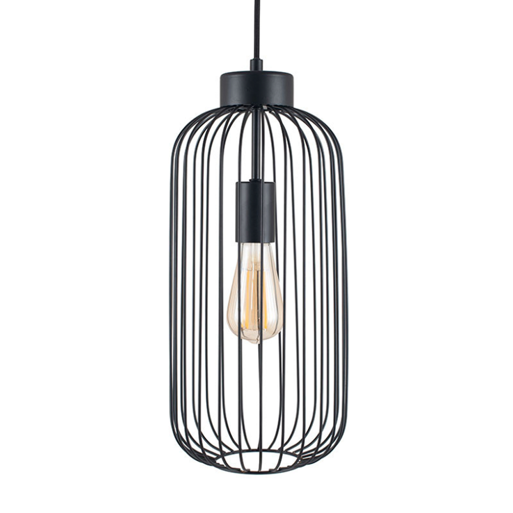 black wire frame pendant light