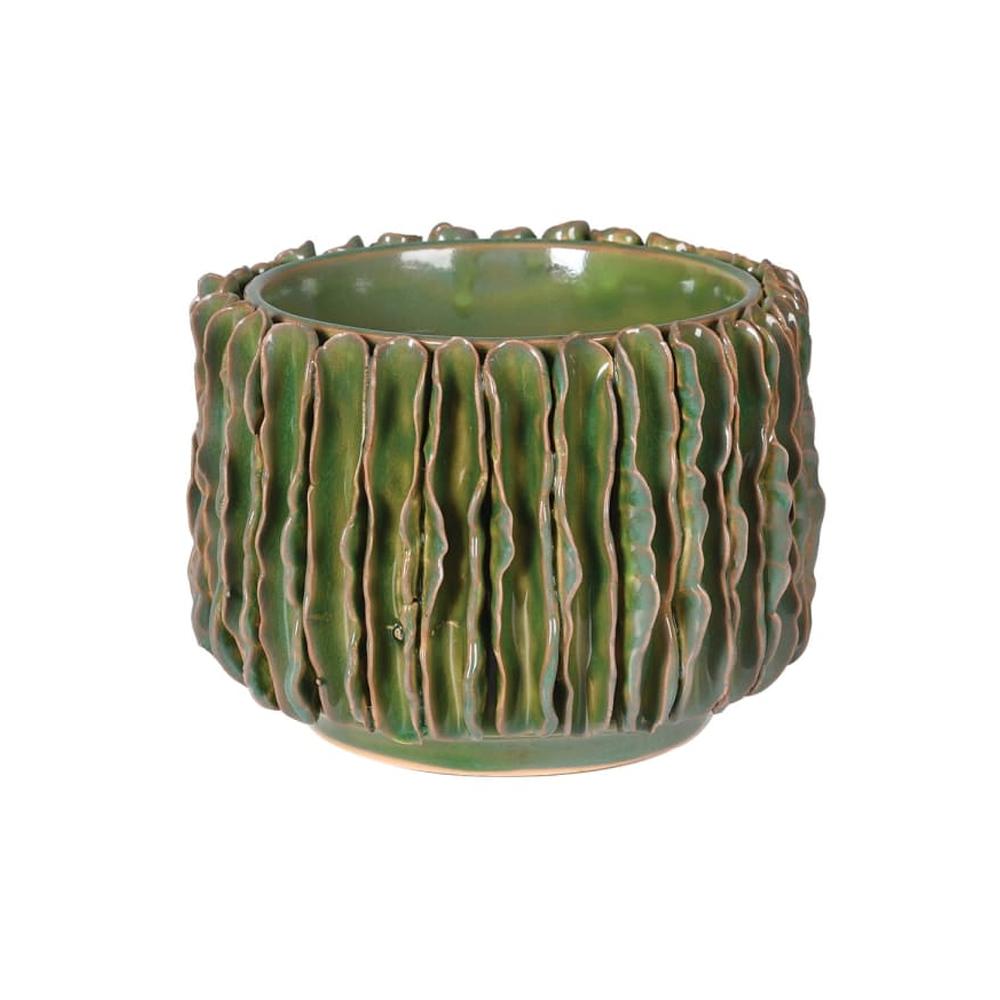 green wavy ceramic pot