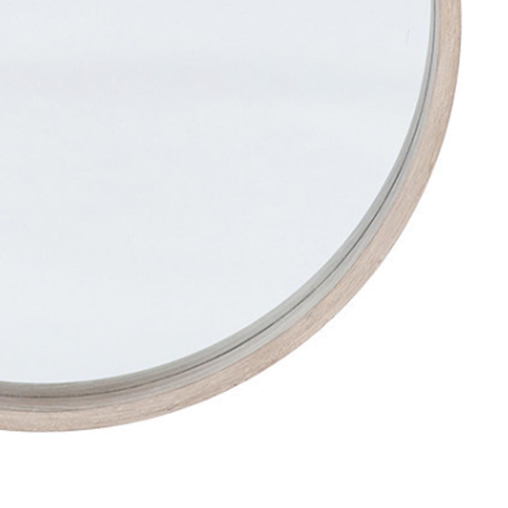 large round wooden mirror