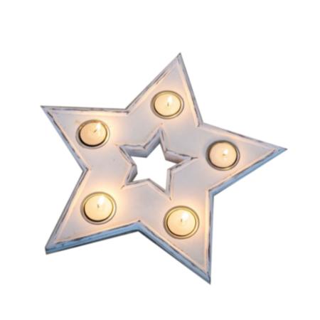star multi tea light holder white