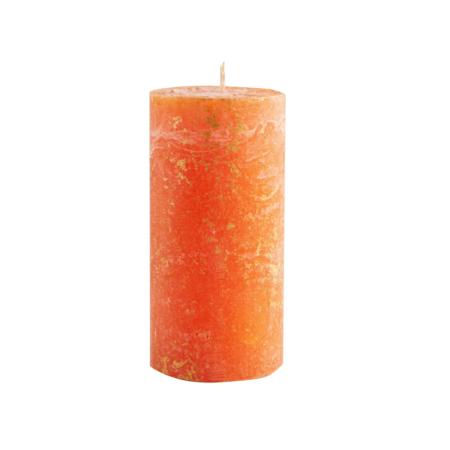 orange cinnamon marbled pillar candle