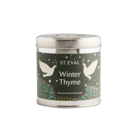 winter thyme candle in tin